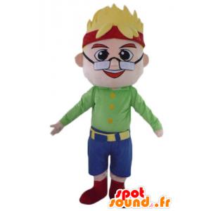 Mascot blonden Jungen Mann mit Brille und einem Stirnband - MASFR23986 - Menschliche Maskottchen