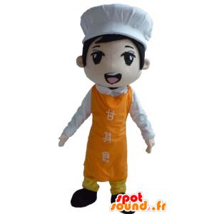 Mascotte Asian Chef mit Schürze und Haube - MASFR23988 - Menschliche Maskottchen