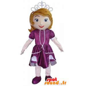 Mascotte de princesse, avec une robe violette