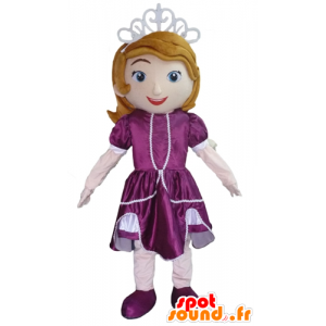 Princess-Maskottchen mit einem lila Kleid