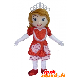 Princess mascot with a red and white dress