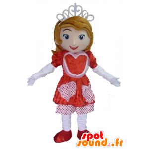 Princess-Maskottchen mit einem roten und weißen Kleid