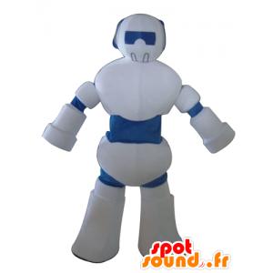 Maskotti valkoinen ja sininen robotti, jättiläinen