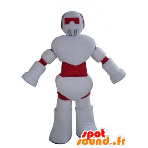 Maskotti punainen ja valkoinen robotti, jättiläinen