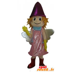 Mascot smilende liten fe med en rosa kjole