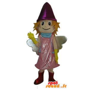 Mascot smiling little fairy with pink dress