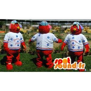 Mascot red monster Muppet Show in sportswear - MASFR006593 - Sports mascot