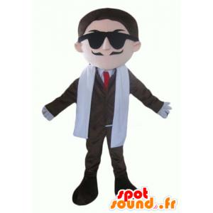 Geschäftsmann Maskottchen der Schnurrbart in Anzug und Krawatte - MASFR24011 - Menschliche Maskottchen