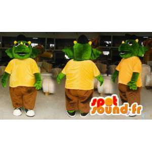 Mascot grønn og gul dinosaur. drage kostyme - MASFR006595 - dragon maskot