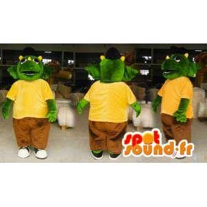 Mascot grüne und gelbe Dinosaurier.Drachen-Kostüm - MASFR006595 - Dragon-Maskottchen