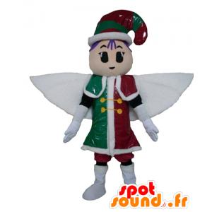 Fada Mascot, duende, vestido vermelho, verde e branco - MASFR24018 - fadas Mascotes