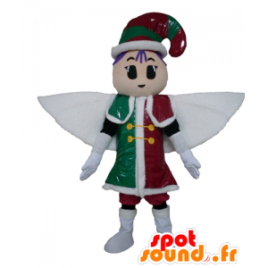 Mascotte de fée, de lutin, en tenue rouge, verte et blanche
