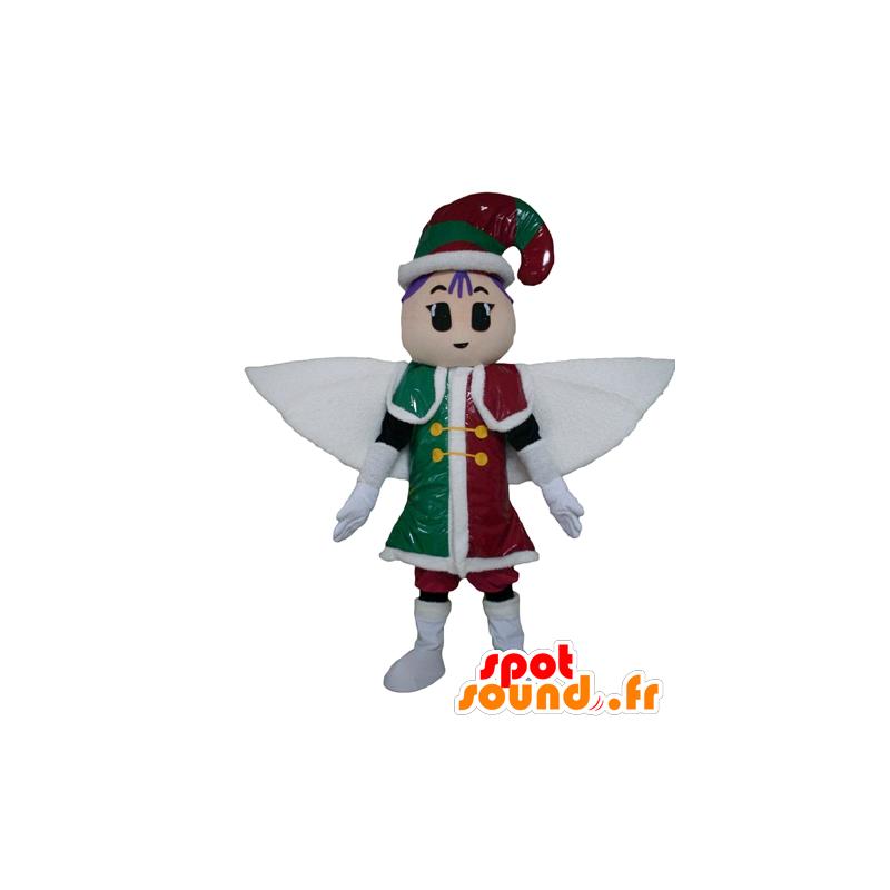 Mascotte de fée, de lutin, en tenue rouge, verte et blanche - MASFR24018 - Mascottes Fée
