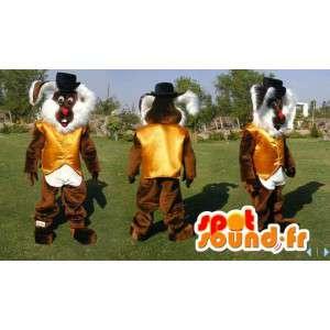Mascotte de lapin marron et blanc tout poilu. Costume de lapin - MASFR006597 - Mascotte de lapins