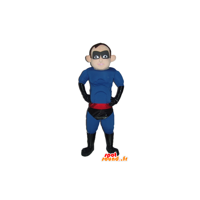 Superhero mascot in blue outfit, black and red - MASFR24027 - Superhero mascot