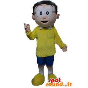 Mascot man met een bril en een gele en blauwe outfit - MASFR24029 - man Mascottes