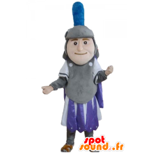 ιππότης μασκότ, γκρι που κατέχουν μοβ και λευκό - MASFR24030 - μασκότ Ιππότες