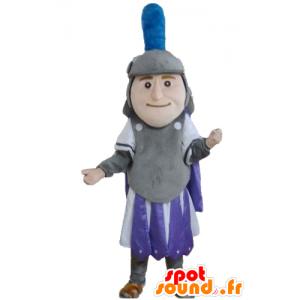 Mascota Knight, vestido de gris, morado y blanco