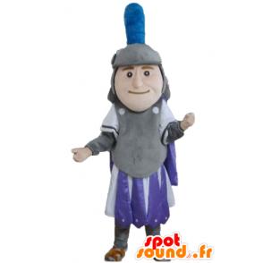 Knight mascot, gray dress, purple and white - MASFR24030 - Mascots of Knights