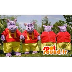 Mascottes d'hippopotames violets habillés. Pack de 2