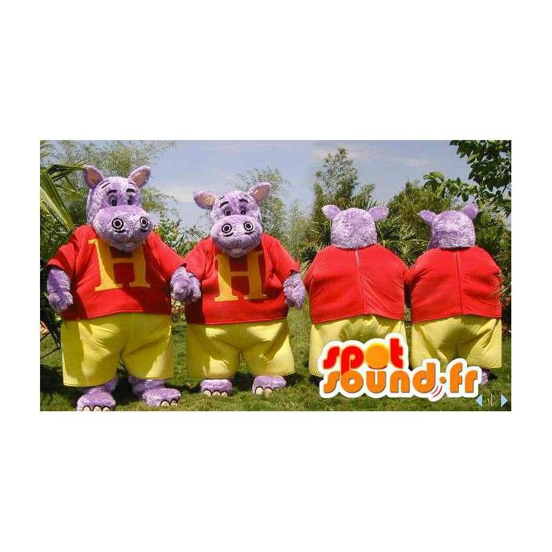 Pukeutunut violetti virtahepo maskotteja. 2 kpl - MASFR006599 - Hippo Maskotteja