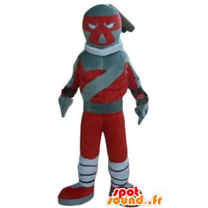 Lelu maskotti, punainen ja harmaa robotti