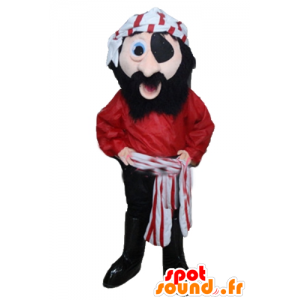 Abito rosso Pirata Mascotte, in bianco e nero - MASFR24034 - Mascottes de Pirate