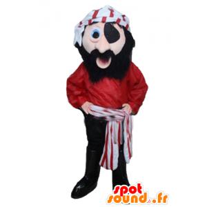 Vestido rojo de la mascota del pirata, blanco y negro - MASFR24034 - Mascotas de los piratas