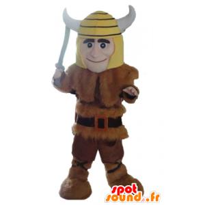 Viking μασκότ στο δέρμα ζώου με ένα κίτρινο κράνος - MASFR24037 - μασκότ στρατιώτες