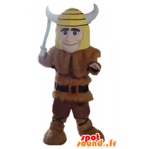 Vikingo mascota en piel de animal con un casco amarillo - MASFR24037 - Mascotas de los soldados