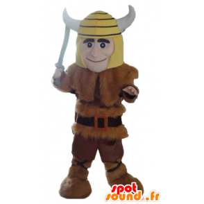 Viking mascot in animal skin with a yellow helmet - MASFR24037 - Mascots of soldiers