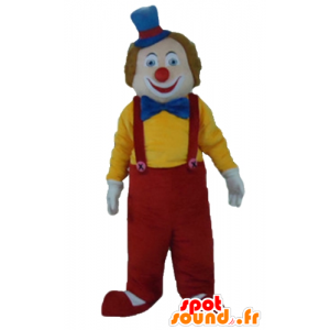 Mascotte de clown multicolore, souriant et mignon
