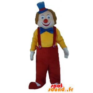 Maskot vícebarevný klaun, usmívající se a roztomilý