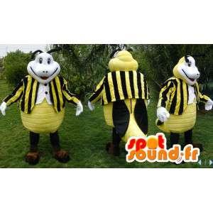 Mascot white and black yellow bee - MASFR006602 - Mascots bee