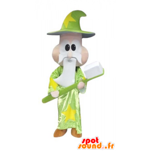 Hechicero de la mascota, mago, con un cepillo de dientes gigante