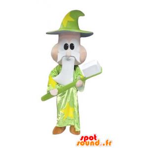 Maskotka czarownik, mag, z olbrzymim szczoteczka