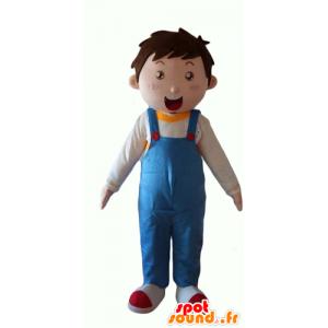 Mascot jongen, gekleed in blauwe overalls - MASFR24051 - Mascottes Boys and Girls
