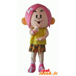 Maskottepige med lyserødt hår med et blomstret tøj - Spotsound