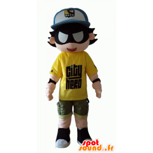Bambino supereroe mascotte con una benda - MASFR24055 - Mascotte del supereroe
