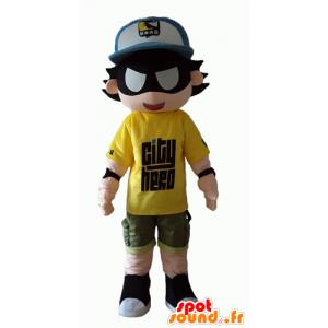 Mascotte d'enfant de superhéros avec un bandeau sur les yeux - MASFR24055 - Mascotte de super-héros