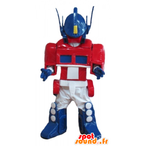 Roboter-Maskottchen blau, weiß und rot von Transformers