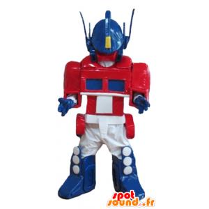 Sininen robotti maskotti, valkoinen ja punainen Transformers