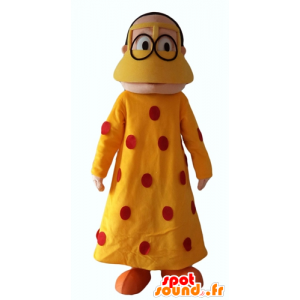 Mascot oriental woman with a yellow dress with red polka dots