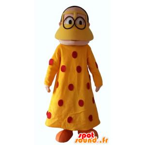 Mascotte oosterse vrouw met een gele jurk met rode stippen