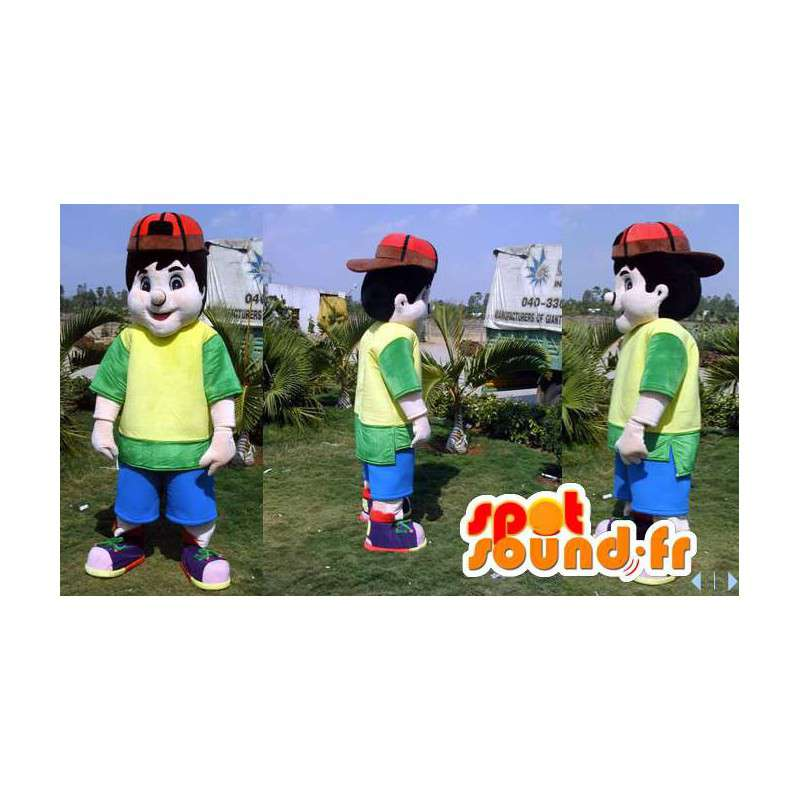 Mascotte de garçon avec une tenue colorée et une casquette - MASFR006607 - Mascottes Garçons et Filles