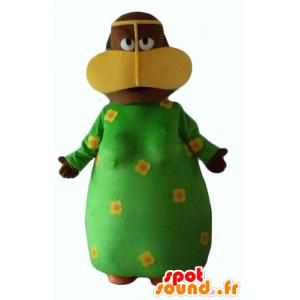 Maskot africká žena s zelené květinové šaty