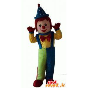 Mascotte de clown multicolore, très souriant