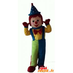 Mascotte veelkleurige clown, en al glimlach
