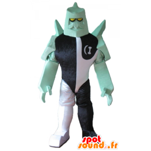 Robot carácter de la mascota fantástica negro, blanco y verde