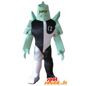 Robot maskot, svart fantastisk karakter, hvitt og grønt